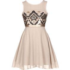 Sequin Aztec Skater Dress | HGD118 ($65) ❤ liked on Polyvore featuring dresses, vestidos, robe, short dresses, pink dress, pink cocktail dress, pink skater dress, sequin embellished dress and pink mini dress