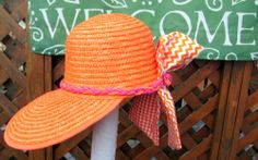 WOMANS HAT DECORATOR ONE OF A KIND BEACH HAT WITH CHEVRON SCA RF REDUCED