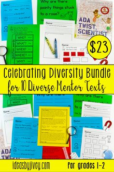 Celebrating Diversity Bundle for 10 Diverse Mentor Texts (Grades Writing Mini Lessons, Reading Lessons, Teaching Writing, Writing Prompts, Kindergarten Writing, Math Lessons, Mentor Sentences, Mentor Texts, Vocabulary Activities