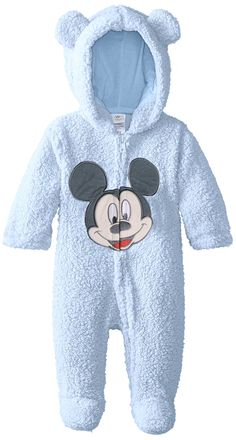 Disney Baby Baby-Boys Newborn Love You Mickey Mouse Hooded Pram, Light Blue, 6 Months 15.38
