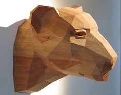 Wooden Leopard Head, Beautiful Cherrywood Sculpture, Geometric Design. Limited Edition ( I bet you like this)