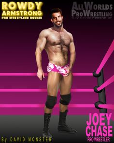 """JOEY CHASE, the sexy #ProWrestler sometimes referred to as the """"Toughest Dick in the Biz"""", from the www.RowdyArmstrong.com Series of Novels & the www.AllWorldsProWrestling.com Multi-Choice Text Game. ALL WORLDS PRO WRESTLING  #GayProWrestling #Gay #ProWrestling #GayWrestling #EroticWrestling #HairyChest #Muscle #Boner #Mustache Wrestling Games, Wrestling News, Red Hair, Brown Hair, Black Hair, Scott Evans, Confused Feelings, Jersey Boys, Hairy Chest"""