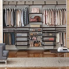 Dare to want it all: hanging space, Shoe Shelves, Mesh Drawers for folded clothing and a Gliding Pant Rack plus Jewelry Trays for her, a Gliding Tie & Belt Rack for him and Solid Shelves for them both.