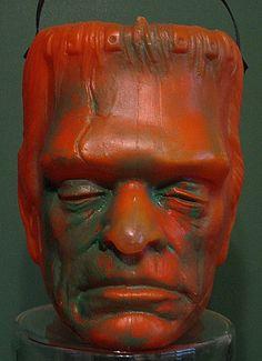 Frankenstein Halloween candy bucket.