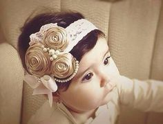 Ivory/Caramel/stone Vintage Headband/Child Headband /baby Girl Headband /Photo prop Headband on Etsy Vintage Headbands, Baby Girl Headbands, My Baby Girl, Baby Love, Diy Headband, Diy Hair Accessories, Baby Girl Fashion, Little Princess, Diy Hairstyles