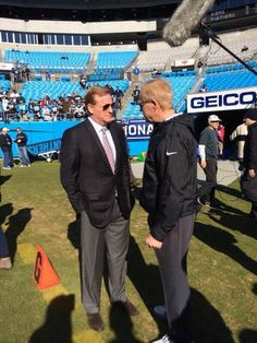 from Chris Clark WCNC NFL Commissioner Roger Goodell out and about at Bank of America stadium