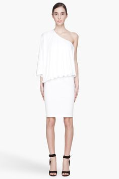 976.00 Givenchy White One Shoulder Dress Off_shoulder dress in white. Zip closure at side. Single dolman sleeve. Draping semi_gloss top panel gathered at front and floating at back. Knit stretch skirt. Unlined. Tonal stitching.