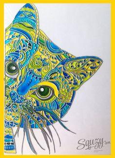 Мастер-класс по витражной росписи:картина Синий кот.