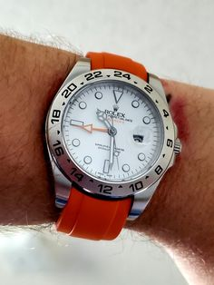Explorer ii on an Everest orange strap. Perfect match to the orange GMT hand. Rolex Explorer Ii, Rolex Datejust, Tom Hardy, Watches Rolex, Rolex Bracelet, Black Rolex, Used Rolex, Stainless Steel Rolex, Rolex Logo