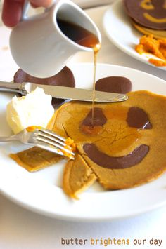 Chocolate Pumpkin Halloween Pancakes | FamilyFreshCooking.com