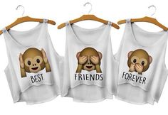 Cute Monkey Emoji Crop Best Friends Forever Tops - Bestfriend Shirts - Ideas of Bestfriend Shirts - Cute Monkey Emoji Crop Best Friends Forever Tops Bff Shirts, Best Friend T Shirts, Best Friend Outfits, Best Friend Gifts, Cute Shirts, Best Friend Clothes, Best Friend Things, Bff Clothes, Harajuku