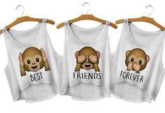 3 tops crops les 3 singes best friends forever