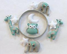 Baby Crib Mobile- Baby Mobile-Elephant, Giraffe, Owl Mobile- Aqua and Gray Felt Nursery Mobile- Moon and Stars (Pick Your Colors)