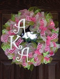 Alpha Kappa Alpha Sorority | AKA Wreath on Etsy - 140 by WreathsByTrina on Etsy