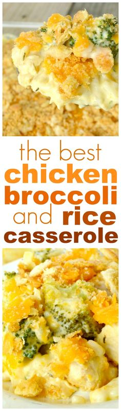 Chicken Broccoli and Rice Casserole. This amazing casserole is loaded with chunks of chicken breasts, fresh broccoli and rice in the creamiest, most flavorful sauce. Every bite is fabulous comfort food!