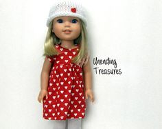 This dress is made to fit your 14 inch doll like wellie wishers. It is made with a lightweight knit fabric. The doll steps into this dress and it easily pulls up from the bottom. ADD AS MANY OF MY ITEMS TO YOUR SHOPPING CART AND CHECK OUT AT ONE TIME, AND YOU ONLY PAY FOR SHIPPING ON THE FIRST ITEM. FREE SHIPPING ON ALL ADDITIONAL ITEMS AFTER THE FIRST ONE.  All seams are serged for a clean finish and this was made in my smoke/pet free toy shop.  The doll, and shoes stay here with me.  I...