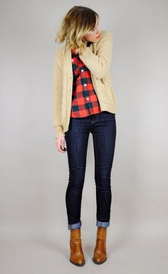 Shop this look on Lookastic:  https://lookastic.com/women/looks/tan-cardigan-red-and-black-dress-shirt-navy-skinny-jeans-tobacco-ankle-boots/9523  — Red and Black Gingham Dress Shirt  — Tan Knit Cardigan  — Navy Skinny Jeans  — Tobacco Leather Ankle Boots