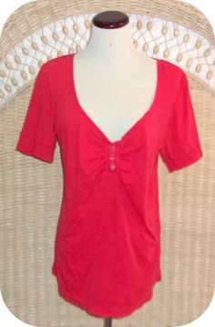 OLD NAVY Womens Top Size XL Red Short Sleeve Cotton #OldNavy #KnitTop #CareerCasual