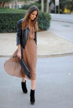 leather jeacket + dress