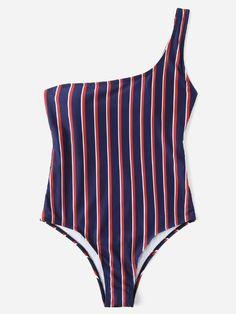 1a25381d57d88 One Shoulder Striped SwimsuitFor Women-romwe Striped Swimsuit