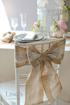 Burlap Chair Sash with Lace Stitched Edge Burlap Chair Sashes, Pew Ends, Chair Backs, Rustic Feel, Rustic Wedding, Shabby Chic, Bows, Table Decorations, Lace