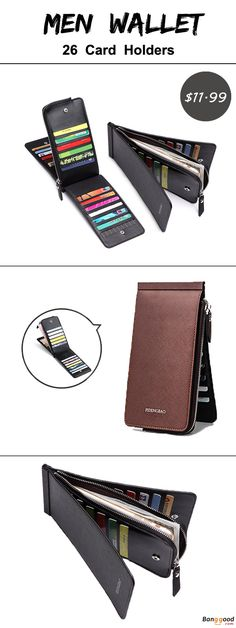 US$11.99 + Free shipping. Men Wallet, Business Wallet, Long Wallet, PU Wallet, Card Holder, Coins Bag. Material: PU. Color: Black, Coffee, Brown.26 Card Holders and 1 Zipper Pocket, Suitable for most kinds of phone. REPIN if you like it!