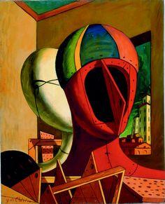 Giorgio de Chirico, Le maschere, Olio su tela, 50 x 40 cm Italian Painters, Italian Artist, Yves Tanguy, Art Picasso, Modern Art, Contemporary Art, Max Ernst, Magritte, Traditional Paintings