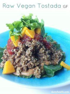 Raw Vegan Tostada Recipe. Cashew cheese and walnut meat
