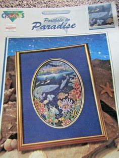 PORTHOLE TO PARADISE Counted Cross Stitch Pattern By Kyle Hollingsworth Sea Life #ColorCharts #Sampler Hawaiian Art, Counted Cross Stitch Patterns, Summer Garden, Beautiful Islands, Needlework, Paradise, Sea, Projects, How To Make