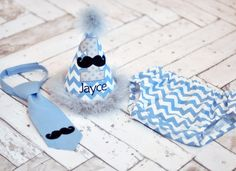 Boys Birthday Party Hat, Diaper Cover and Tie - Perfect for First Birthday, Smash Cake Pics, Photo Prop - Little Man Mustache Bash in Medium Blue Chevron and Gray