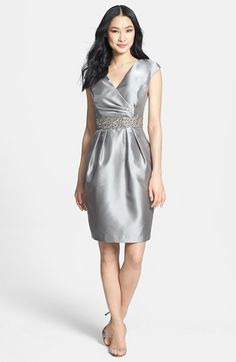Alex Evenings Embellished Waist Taffeta Sheath Dress available at #Nordstrom Mother of the Bride