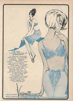 22c52e8c06 1963 VASSARETTE Blue BRA GIRDLE SLIP Lady Art Luxury Vintage Lingerie Print  Ad