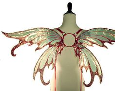 Iynx No.1 - Medium Cellophane Fairy Wings in Red Glitter