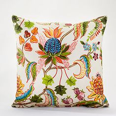 "18""Sq. White Indonesian Fruit Toss Pillow at Cost Plus World Market"