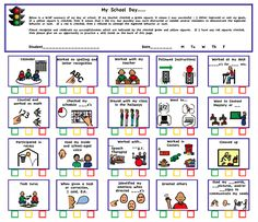 ( free download) Autism Behavior Checklist - My School day | Charts/Schedules - Victories 'N Autism