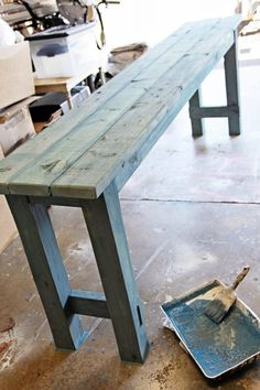 How to use watered down milk paint to get a beachy look on newly built DIY no-nails console table by Shabbyfufu featured on Remodelaholic Pallet Furniture, Furniture Projects, Painted Furniture, Furniture Design, Furniture Nyc, Building Furniture, Primitive Furniture, Plywood Furniture, Cheap Furniture