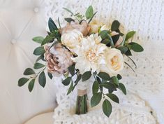 Vintage Bouquet | Cream & Taupe Mauve | Roses, Peonies, Dahlias, Seeded Eucalyptus, Smilax | Bridal Bouquet | Made to Order Vintage Bouquet by FairytaleFlorist on Etsy https://www.etsy.com/listing/566260655/vintage-bouquet-cream-taupe-mauve-roses