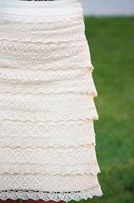 """""""lace for days"""" skirt...if I could find a cream pencil skirt that'd save me from making the whole skirt...then to just add the lace :)  AND there are many other fantastic DIY skirts and dresses on her blog!"""