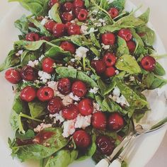 Celebrate cherries...simply soak in grappa and white balsamic, then serve on a bed of baby spinach with goat's cheese and a basil and almond gremolata...yum! #jhpgourmetguide #festive #homecooking #keepitsimple #sexysalad #fresh #seasonal Restaurant Plates, Cabbage Leaves, Fresh Cream, Instant Yeast, Baby Spinach, Test Kitchen, Kitchen Recipes, 4 Ingredients, Gourmet