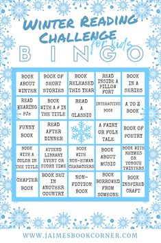 Join me with a Winter Reading Challenge for Kids. Let's keep the little ones busy this winter and get them excited about reading at the same time! Get your free Printable and start playing BINGO today. Reading Bingo, Reading Club, Reading Games, Reading Fluency, Reading Skills, Reading Nook, Guided Reading, Reading Lists, Pre-school Books