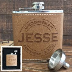 Personalized leather flask with funnel set in two piece gift box, groomsmen flask gift set, custom engraved groomsmen gifts, the perfect groomsman wedding favor gift. Groomsmen Flask, Groomsman Gifts, Wedding Gifts For Bride And Groom, Father Of The Bride, Personalized Wedding Gifts, Customized Gifts, Custom Gifts, Black Gift Boxes, Bridesmaid Proposal