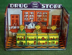 1920's Marx Tin Litho Hometown Drug Store Two Pieces Clean Complete VG