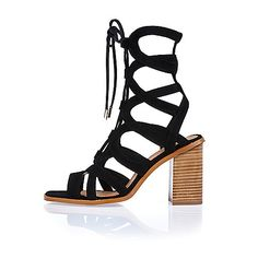 Black leather lace-up block heel sandals - heeled sandals - shoes / boots - women
