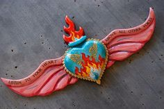 painted winged sacred heart for Sandra O. Custom painted winged sacred heart for Sandra O.Custom painted winged sacred heart for Sandra O. Heart With Wings, I Love Heart, Mexican Folk Art, Mexican Style, Mexican Crafts, Clay Crafts, Arts And Crafts, Mexico Art, Tin Art