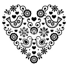 Folk Embroidery Folk art Saint Valentin coeur-amour, mariages, les anniversaires cliparts… - Vector black folk heart with flowers and birds isolated on white Hungarian Embroidery, Folk Embroidery, Learn Embroidery, Embroidery Patterns, Bordado Popular, Scandinavian Folk Art, Scandinavian Embroidery, Birthday Greeting Cards, Birthday Greetings