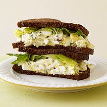 This egg salad cuts the fat content, not the flavor, by using spiced-up, fat-free mayonnaise and just two yolks of the four eggs. #recipe #WWLoves