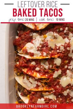 Baked Ground Beef Tacos using a whole container of leftover rice! These easy cheesy tacos are ready in 25 minutes and are DELICIOUS! Cheesy Recipes, Mexican Food Recipes, Vegetarian Recipes, Leftover Mashed Potatoes, Leftover Rice, Meaty Lasagna, Mashed Potato Patties, Healthy Mexican Casserole, Ham And Cabbage