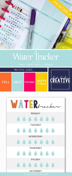 Free Water Tracker Planner Printable from Fit Life Creative