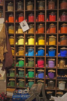 Pigments on display in a Venetian art supply / grocery store. Arcobaleno - Pigmenti www.massimonube.com