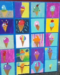 I've been having fun doing ice cream art with my students. My Grade combo class each did an acrylic ice cream painting, t. Class Art Projects, Classroom Art Projects, Art Classroom, Elementary Art Rooms, Art Lessons Elementary, Kindergarten Art, Preschool Art, Summer Crafts, Crafts For Kids